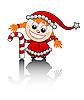 kleines Mädchen als Weihnachtsmann-Helfer