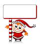 Mädchen als Weihnachtsmann-Helfer mit Schild
