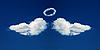 天使的翅膀和灵气从云层中形成 | 免版税照片