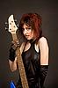 ID 3023394 | Piękna dziewczyna z gitarą basową | Foto stockowe wysokiej rozdzielczości | KLIPARTO