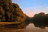 ID 3023445 | Autumn landscape with lake and fog  | Foto stockowe wysokiej rozdzielczości | KLIPARTO