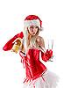 ID 3023515 | Mrs. Santa mit Champagner-Flasche | Foto mit hoher Auflösung | CLIPARTO