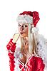ID 3023519 | Мисс Санта Клаус пьет шампанское | Фото большого размера | CLIPARTO