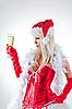 ID 3023520 | Мисс Санта смотрит на бокал шампанского | Фото большого размера | CLIPARTO