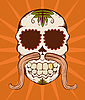 Vector clipart: orange sugar skull