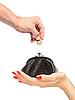 Ledertasche in Frauenhand und Männerhand mit Münze | Stock Foto