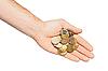Hand mit Euro-Münzen | Stock Foto