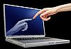 Frauenhand berührt Laptop-Monitor | Stock Foto