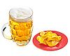 Kartoffelchips auf Teller und Krug Bier | Stock Foto
