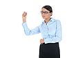 ID 3021596 | Женщина-бизнесмен держит шариковую ручку | Фото большого размера | CLIPARTO
