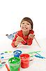 Mały Chłopiec farby | Stock Foto