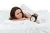 ID 3021690 | Schlafende Frau schaltet den Alarm aus | Foto mit hoher Auflösung | CLIPARTO