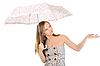 ID 3021866 | Młoda kobieta z parasolem | Foto stockowe wysokiej rozdzielczości | KLIPARTO