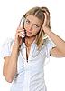 ID 3021898 | 그의 손에 휴대 전화와 함께 아름 다운 여자입니다. | 높은 해상도 사진 | CLIPARTO