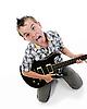 Mały muzyk gra na gitarze | Stock Foto
