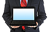 Biznesmen gospodarstwa otwartej laptopa | Stock Foto
