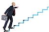 Biznesmen uruchamia się po drabinie kariery | Stock Foto