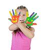 Mädchen mit den Handflächen von einer Farbe bemalt. | Stock Foto