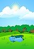 ID 3024637 | Jezioro w lesie na polanie | Klipart wektorowy | KLIPARTO
