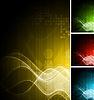 Vier abstrakte Tech-Werbebanner