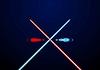 Rot und blau leuchtende Lichtschwerter