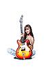 ID 3023870 | Schöne Rock-n-Roll-Mädchen mit Gitarre | Foto mit hoher Auflösung | CLIPARTO