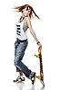 ID 3023922 | 스케이트 보드와 웃는 소녀 서 | 높은 해상도 사진 | CLIPARTO