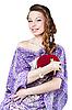 ID 3024254 | Piękny romantyczny kobieta trzyma czerwone serce | Foto stockowe wysokiej rozdzielczości | KLIPARTO