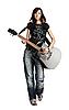 Dziewczyna nastolatek grając na gitarze akustycznej | Stock Foto