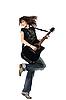 十几岁的女孩发挥着吉他 | 免版税照片
