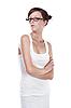 Студентка в очках на белом | Фото