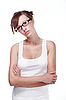 漂亮的女学生戴眼镜 | 免版税照片