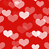 Seamless background with hearts on red | Stock Illustration
