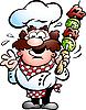 Chefkoch mit Kebab-Spieß