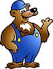 熊蓝色工作服 | 向量插图