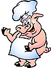 Pig Chef wearing apron