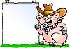猪厨师在信息板前 | 向量插图