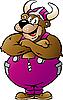 Медведь-викинг в фиолетовой одежде
