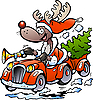 Vector clipart: Reindeer Driving Car