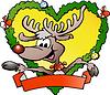 Счастливый рождественский олень | Векторный клипарт