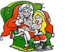 Ein Weihnachtsmann sitzt mit niedlichen Weihnachts-Hand-, die