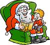 Weihnachtsmann erzählt Geschichte zu einem kleinen Jungen