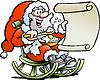 Weihnachtsmann schaut auf Wunschliste