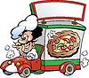 Hand gezeichnet ein italienisches Pizza dilevery Auto