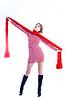 Piękna dziewczyna z długimi czerwonym szalikiem | Stock Foto