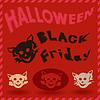 Halloween und Black Friday Muster mit Katze Schablonen