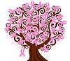 유방암 핑크 리본 트리 | Stock Vector Graphics