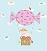 Mädchen und Junge auf dem Ballon | Stock Vektrografik