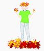 Mädchen mit gelben Blättern | Stock Vektrografik