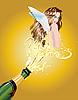Mädchen fliegt aus der Flasche | Stock Vektrografik